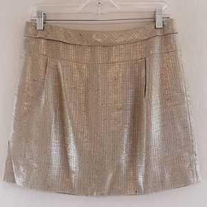 J Crew Collection Gold Metallic A-Line Skirt 2